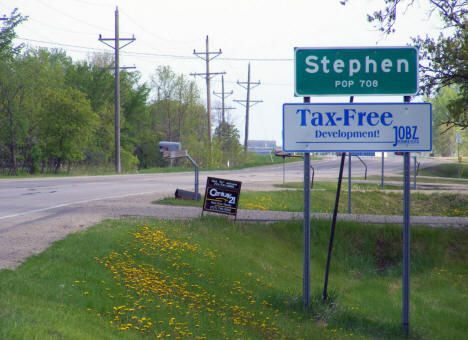 Entering Stephen Minnesota from the south on US Highway 75, 2008