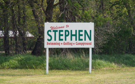 Welcome sign, Stephen Minnesota, 2008