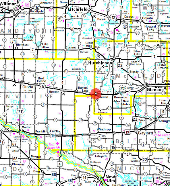 Minnesota State Highway Map of the Stewart Minnesota area