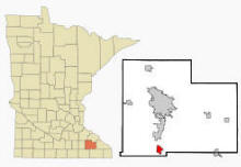 Location of Stewartville, Minnesota