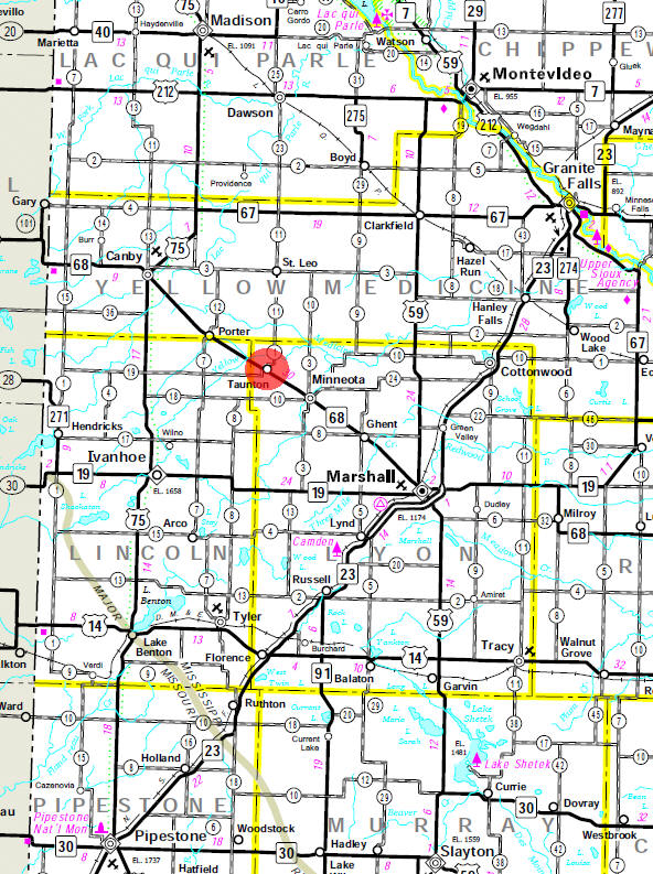 Minnesota State Highway Map of the Taunton Minnesota area