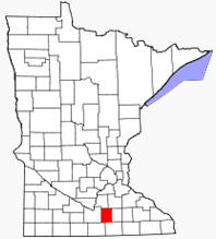 Location of Waseca County Minnesota