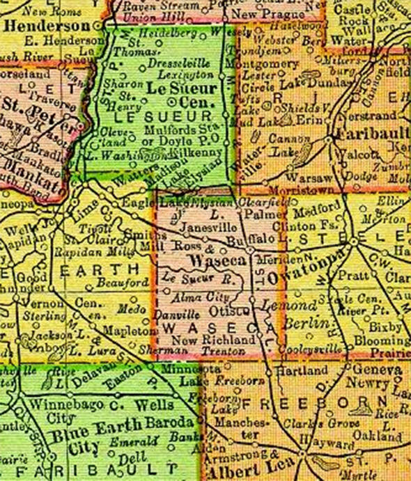 1895 Map of Waseca County Minnesota