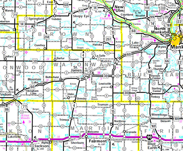 Minnesota State Highway Map of the Watonwan County Minnesota area