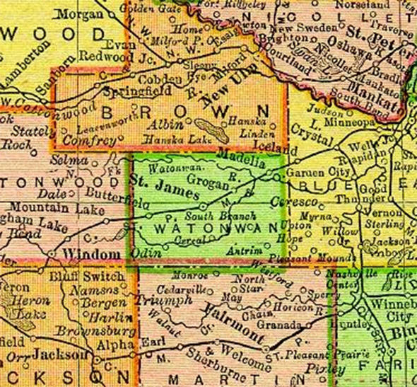 1895 Map of Watonwan County