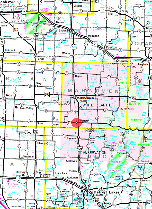 Minnesota State Highway Map of the Waubun Minnesota area