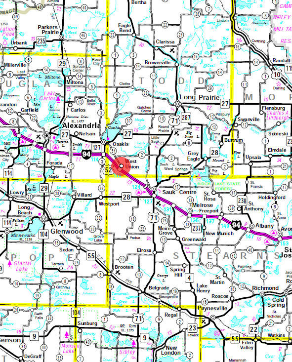 Minnesota State Highway Map of the West Union Minnesota area
