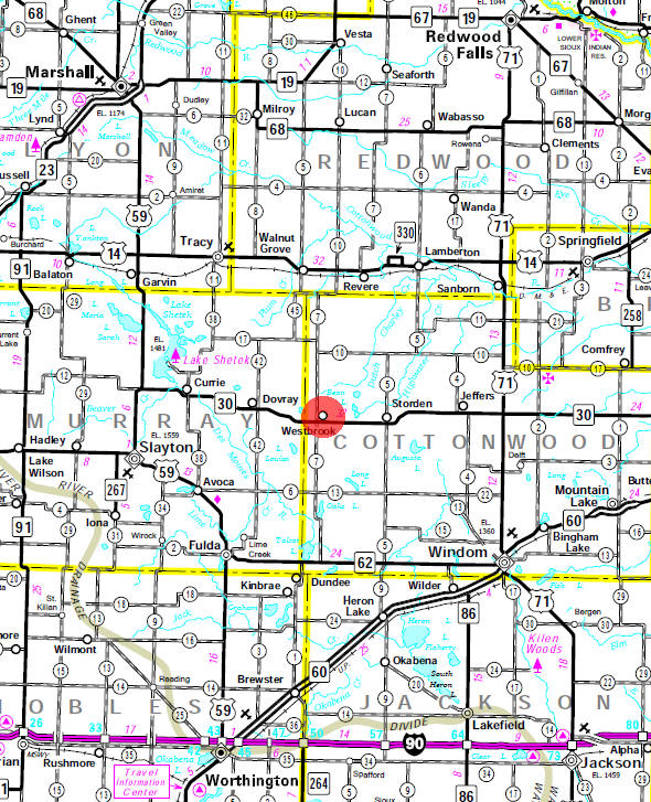 Minnesota State Highway Map of the Westbrook Minnesota area