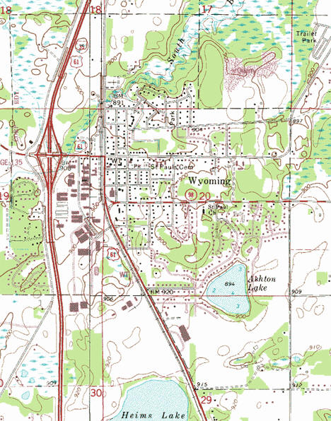 Topographic map of the Wyoming Minnesota area