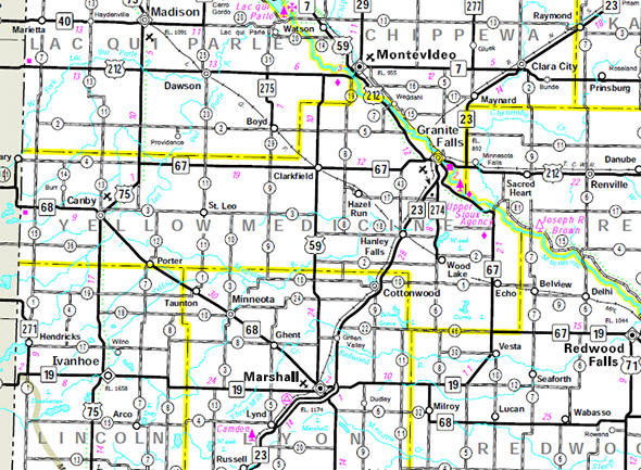 Minnesota State Highway Map of the Yellow Medicine County Minnesota area