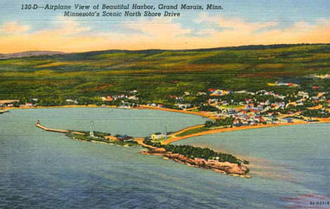 Airplane view of Grand Marais Minnesota, 1935