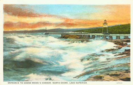 Entrance to Grand Marais harbor, 1920