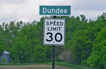 Dundee city limits sign, Dundee Minnesota