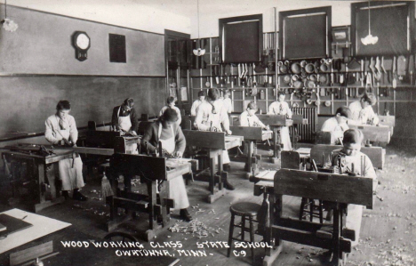 Wood working class, State School, Owatonna Minnesota, 1920's?