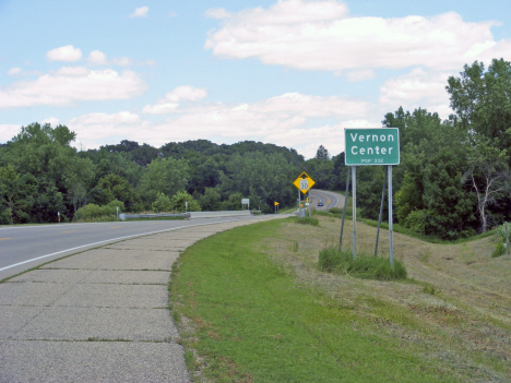 Population sign on US Highway 169, Vernon Center Minnesota, 2014