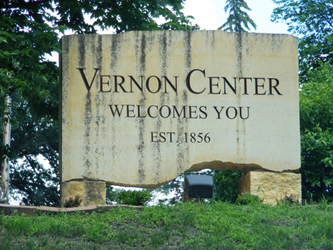 Welcome sign, Vernon Center Minnesota, 2014