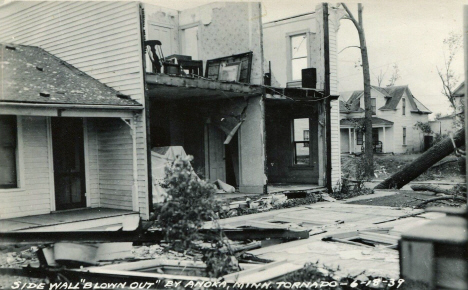Side wall blown out by tornado, Anoka Minnesota, 1939