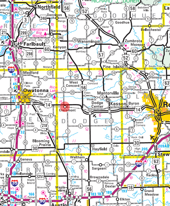 Minnesota State Highway Map of the Claremont Minnesota area