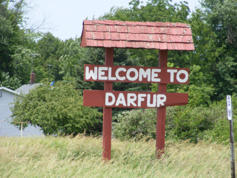 Welcome sign, Darfur Minnesota, 2014