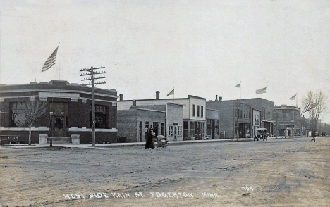 West side of Main Street, Edgerton Minnesota, 1915