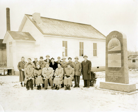 One-room schoolhouse shortly after it was moved to the present museum site in Esko, Minnesota, c1957