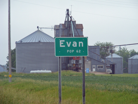 Population sign, Evan Minnesota, 2011