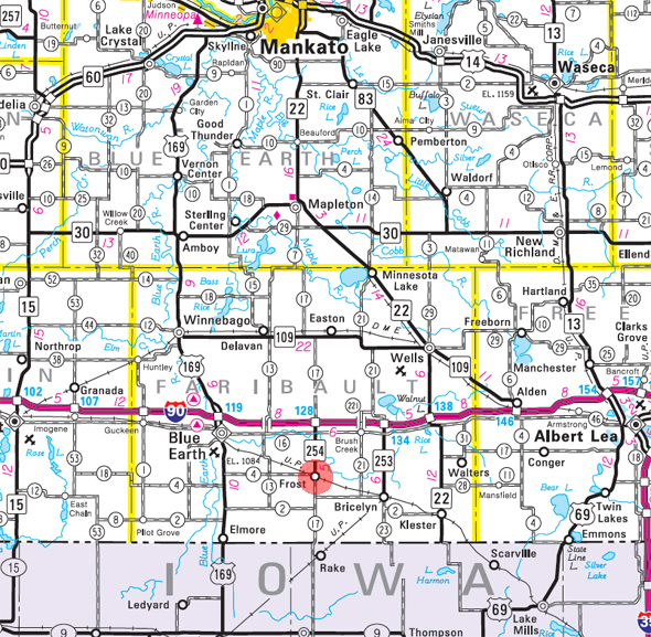 Minnesota State Highway Map of the Frost Minnesota area