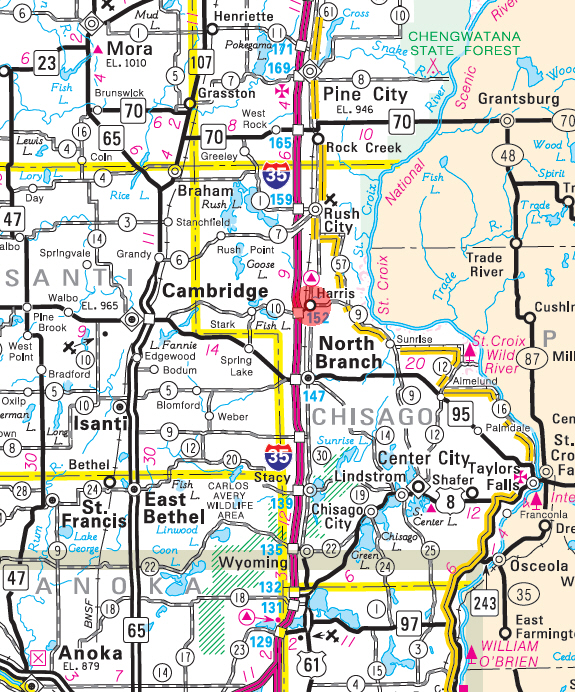 Minnesota State Highway Map of the Harris Minnesota area
