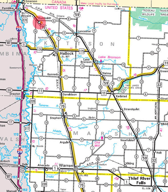 Minnesota State Highway Map of the Humboldt Minnesota area