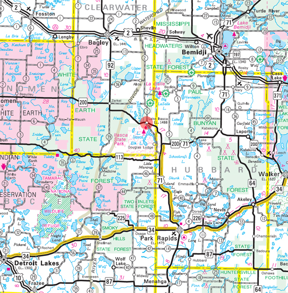 Minnesota State Highway Map of the Lake Itasca Minnesota area