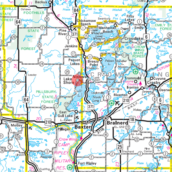 Minnesota State Highway Map of the Lake Shore Minnesota area