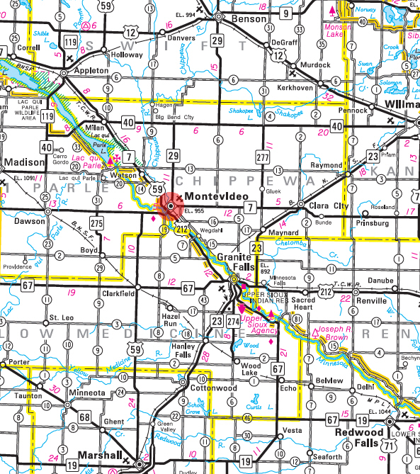 Minnesota State Highway Map of the Montevideo Minnesota area
