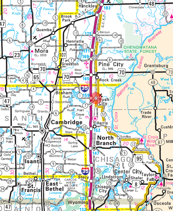 Minnesota State Highway Map of the Rush City Minnesota area