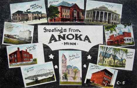 Greetings from Anoka, multiple scenes, Anoka Minnesota, 1910
