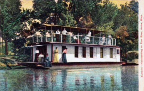 Houseboating on the Rum River, Anoka Minnesota, 1914