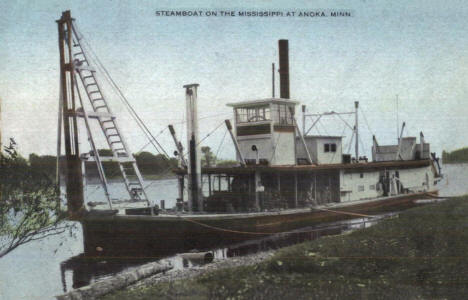 Steamboat on the Mississippi River, Anoka Minnesota, 1910's
