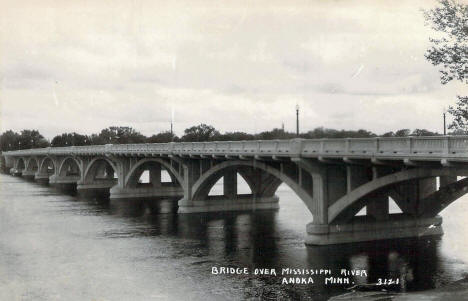 Mississippi River Bridge, Anoka Minnesota, 1950's
