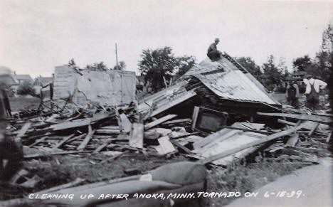 Cleaning up after the tornado, Anoka Minnesota, 1939