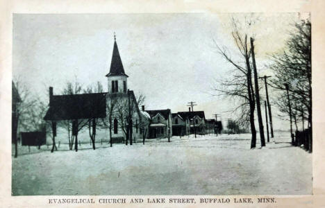 Evangelical Church and Lake Street, Buffalo Lake Minnesota, 1910's