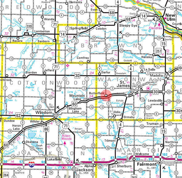 Minnesota State Highway Map of the Butterfield Minnesota area