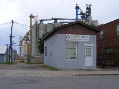 Clarkfield Police Department with elevators in background, Clarkfield Minnesota, 2011