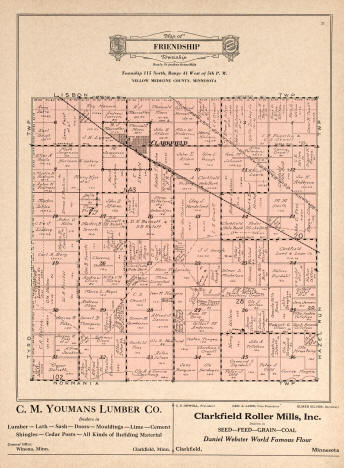 Plat map of Friendship Township in Yellow Medicine County Minnesota, 1929