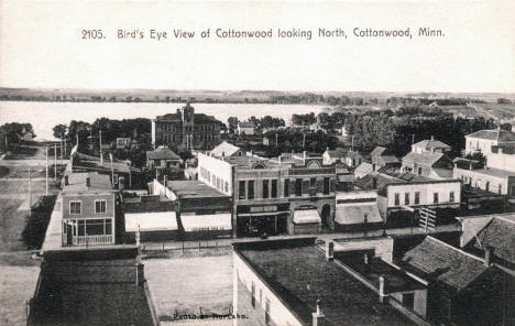 Birds eye view looking north, Cottonwood Minnesota, 1910