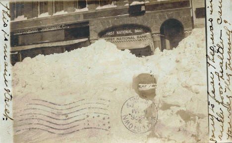 First National Bank after blizzard, Cottonwood Minnesota, 1909