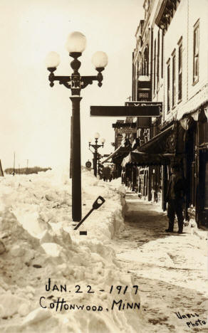 Aftermath of a snow storm, Cottonwood Minnesota, 1917