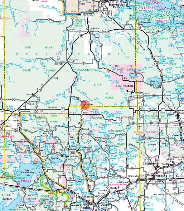 Minnesota State Highway Map of the Craigville Minnesota area
