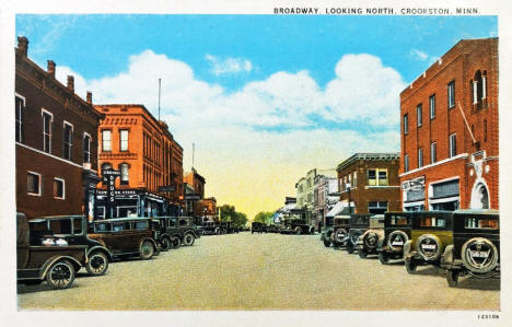 Broadway looking north, Crookston Minnesota, 1930