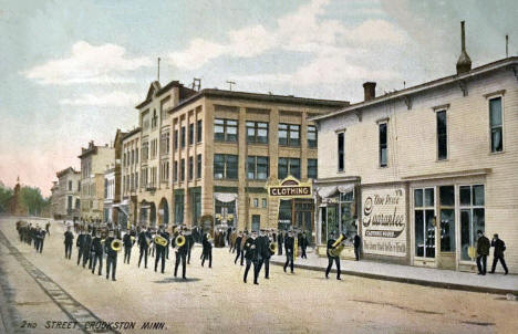Marching Band on 2nd Street, Crookston Minnesota, 1910's