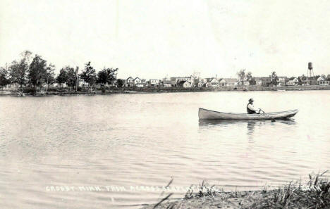 View of Crosby Minnesota from across Serpent Lake, 1920's