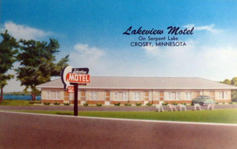 Lakeview Motel on Serpent Lake, Crosby Minnesota, 1950's